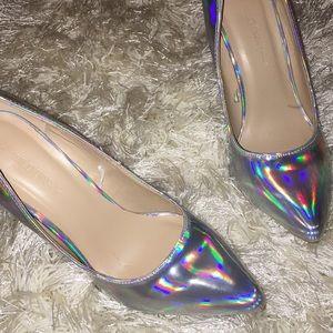 Silver Chrome Iridescent Heels